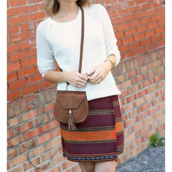 LOFT Dresses & Skirts - LOFT Stripe Fringe Blanket Wrap Skirt